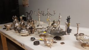 A selection of the Pavilion silver waiting to be photographed, from newer pieces made by Tiffany and the Gorham Manufacturing Company to teapots passed down through many generations of the Gibbs and Pell families.